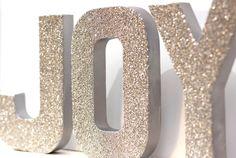 JOY Glass Glitter Christmas Decor  -  8 inches Tall. $45.00, via Etsy.