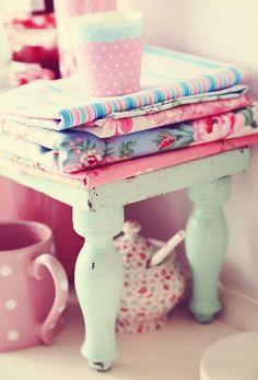 Shabby linen stool