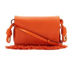 Loewe Flamenco small grained-leather cross-body bag (5,470 GTQ) ❤ liked on Polyvore featuring bags, handbags, shoulder bags, crossbody purses, fringe crossbody purse, red shoulder bag, red cross body handbags and drawstring shoulder bag
