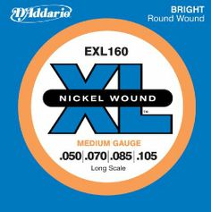 D'Addario EXL160 Nickel Wound Bass Guitar Strings, Medium, 50-105, Long Scale by D'Addario. $13.15. From the Manufacturer                EXL160, D'Addario's top-selling heavy bass string set, provides the ideal combination of strong overall fundamentals with distinctive brightness and booming, tight lows. Fits basses with a string scale length of up to 36 1/4 inches and a good choice for players looking to down tune. D'Addario XL Nickel Wound Electric Bass string...