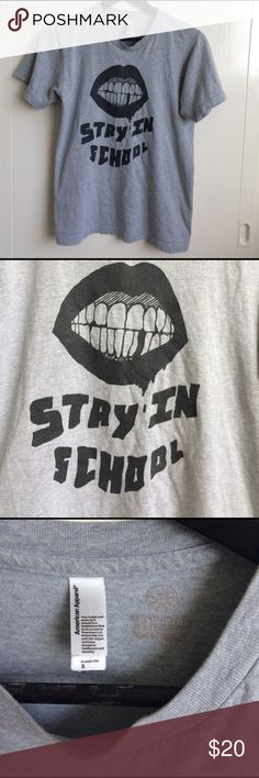 Stay In School Shirt Light grey with black graphic that says Stay in school with some cool gnashing bloody lips/teeth. Looks kinda like the Kylie Jenner lips logo . Skate street style. From American Apparel Custom prints size men's S or unisex, could fit women's XS/S/M depending on the desired fit. made in America! Tagged for exposure! UNIF, Nasty Gal, Jenner Kardashian, Kanye, Supreme Thrasher Supreme Tops Tees - Short Sleeve