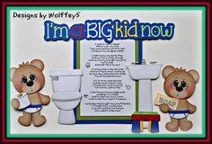 ELITE4U Boy Potty Bear Paper Piecing Premade Scrapbook Page Album Card WOLFFEY5   eBay