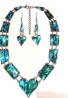 Look what I found on @eBay! http://r.ebay.com/5js4ZS     Blue Abalone Shell Heart Necklace Earring set