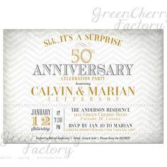 Surprise Wedding Anniversay Invitation - Golden Yellow Gray Chevron - Couple Wedding Anniversary Printable Invites - No.479
