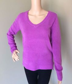 NEW Women's Forever 21 Deep V-Neck Sweater - Bright Fuzzy Purple Orchid - Size M #FOREVER21 #Vneck