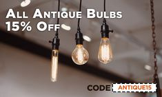 Take 15% off all antique bulbs at 1000Bulbs.com, LEDs included. But hurry this sale ends July 30th! Antique Light Bulbs, Edison Bulbs, Vintage Lighting, 30th, Antiques, Light Fixtures, Antique Lamps, Antiquities, Antique