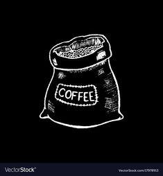 Coffee sack white chalk on black chalkboard vector image on VectorStock Coffee Chalkboard, Blackboard Art, Chalkboard Vector, Chalkboard Designs, Black Chalkboard, Coffee Bean Art, Frog Wallpaper, Coffee Icon, Coffee Sacks