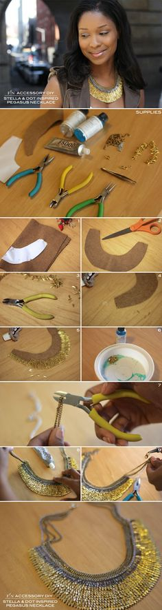 Tutorial DIY Bijoux et Accessoires   Image    Description  Jennifer Cepeda - how to make a bib necklace #Beading #Jewelry #Tutorials