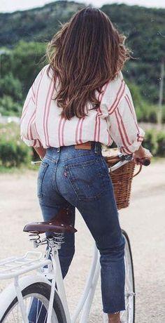 #summer #outfits / stripes + denim We should all go on a summer bike ride or walk!! C xx