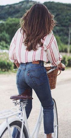 #summer #outfits / stripes + denim