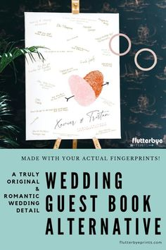 Romantic wedding guest book alternative makes a perfect original reception detail Leave these traditional wedding guest books behind and choose a creative alternative for wedding gu Wedding Welcome Signs, Wedding Signs, Wedding Vendors, Weddings, Wedding Book, Gift Wedding, Dream Wedding, Handmade Wedding, Foil Wedding Stationery
