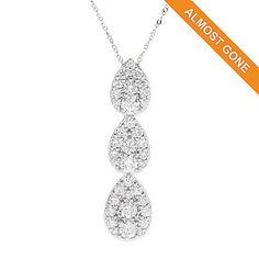 166-443 - Gems of Distinction™ 14K White Gold 1.50ctw Diamond Pear Shaped 3-Station Pendant