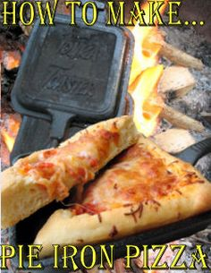 So easy to make this camping meal - Pie Iron Pizza Recipe and instructions Tried July 2013 - was really good. Not always easy to close up the dough without making a big mess, but was good! Camping Hacks, Camping Meals, Tent Camping, Kids Meals, Camping Stuff, Backpacking Food, Ultralight Backpacking, Camping Cooking, Camping Pizza