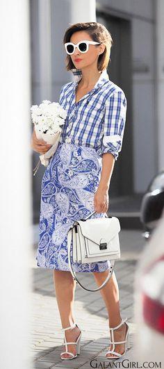 mixing prints and patterns outfit ideas for summer | print mix fashion | loeffler randall satchel street styles | paisley print skirt | check shirt | Ellena Galant Girl