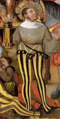 Fruehling:Mai - Junger Mann mit Hosenlatz (Braguette) und breiten Schuhen (Kuhmäulern)  (Young man with codpiece (Braguette) and wide shoes (Kuhmäulern))