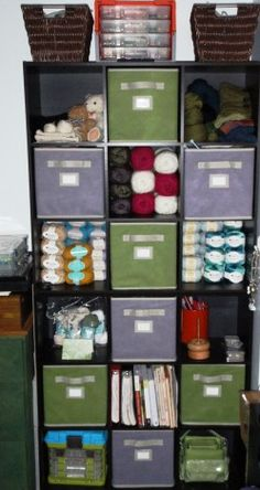 This is what I want for my craft room.  Fabric boxes for WIP's, just take one to the living room and put it back when I'm done for the moment :). We all know knitters have ADD and have about 50 projects going at once so this is perfect!