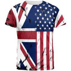 British UK American USA Flag All Over Mens T Shirt
