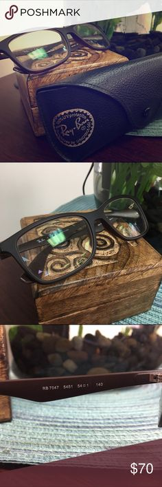 AUTHENTIC Ray-Ban glasses. Like new! With case!! EXCELLENT condition. No scratches. Only used a few times. Comes with case and cleaning cloth. Prescription glasses. You can have your optometrist put your prescription with no problem. Ray-Ban Accessories Glasses