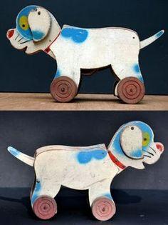 vintage pull toy dog