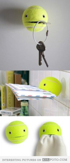 Tennis ball hangers - Funny and interesting hangers made from tennis balls.
