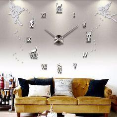 Buy new watch wall clock diy clocks home decoration acrylic miroir Wall Sticker large sticker sale Quartz Modern Metal Wall Clock Sticker, Big Wall Clocks, Wall Clock Brands, 3d Wall Clock, Wall Clock Wooden, Unique Wall Clocks, Diy Clock, Rooms Home Decor, Modern Design