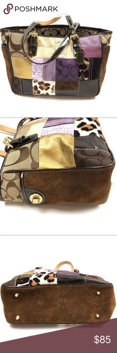 Coach Holiday Patchwork Shopper Tote Handbag Coach Holiday Patchwork Shopper Tote Leather & Suede H05S-9499  Condition: Excellent pre-owned condition. Coach Bags Totes