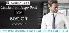 Hugo boss mens wear 60% off @fashionara + get upto 8% extra cashback from dealsncashback.com  www.dealsncashback.com/merchants/fashionara  #hugoboss #dealsncashback #clothing #menswear #menfashion #cashback #deals #shopping #offers #onlineshopping