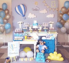 Decoração festa urso Balão Baloeiro chá de bebê Baby Party, Baby Shower Parties, Baby Boy Shower, Decoration Buffet, Party Decoration, Boy Decor, Boys Room Decor, Balloon Birthday Themes, Decoracion Baby Shower Niña