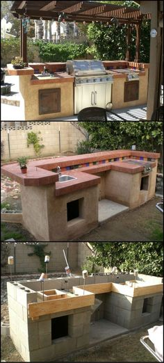 How to Build An Outdoor Kitchen - Thinking of ways to enhance your backyard? Then build an outdoor kitchen! It will encourage you to get outdoors more and there's every chance that it will also increase the value of your home. - My Backyard Now Backyard Projects, Outdoor Projects, Backyard Patio, Backyard Furniture, Backyard Kitchen, Furniture Ideas, Backyard Layout, Kitchen Grill, Cheap Furniture