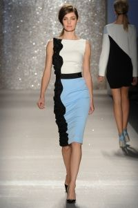 Dresss - Ivory/blue/black stretch faille dress with black floral embroidered side and grosgrain waist