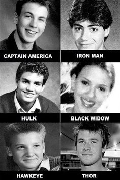 """Take a look at the stars of """"The Avengers"""" when they were worried about pimples and prom dates. [Chris Evans, Robert Downey Jr., Scarlett Johansson, Mark Ruffalo, Jeremy Renner, and Chris Hemsworth]"""