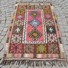 "Anatolia Turkish Kilim 42"" x 64"" Vintage Hand Woven Wool Kayseri Rug 106x162 Cm | eBay"