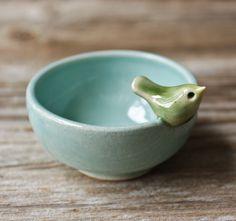 Sweet Little Green Bird on a Tiny Aqua Blue Bowl.