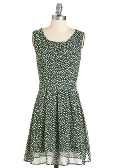 Can't Beat It Dress - Chiffon, Woven, Green, White, Print, Pleats, Casual, Valentine's, A-line, Sleeveless