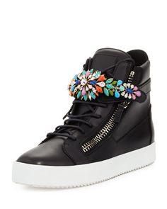 Men\'s Jewel-Strap High-Top Sneaker by Giuseppe Zanotti at Neiman Marcus.