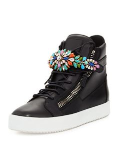 Men\'s Jewel-Strap High-Top Sneaker by Giuseppe Zanotti at Bergdorf Goodman.