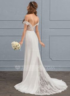 [NZ$ 204.33] Trumpet/Mermaid Off-the-Shoulder Court Train Chiffon Lace Wedding Dress With Beading Sequins