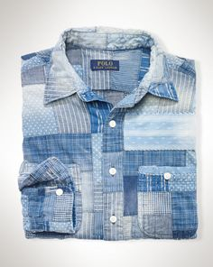 Patchwork Chambray Shirt - Polo Ralph Lauren Casual Shirts
