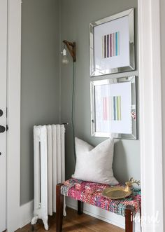 """Going Gray in the Entryway (""""The new color is Rare Gray from Sherwin Williams"""")"""