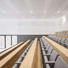 Image 22 of 30 from gallery of Lyric / D.A Architectes. Photograph by Invisible Gentleman Interior Architecture, Interior Design, Christian Church, Dojo, Auditorium, Lyrics, Acoustic Panels, Learn English, Gallery