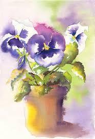Resultado de imagem para watercolor pansies