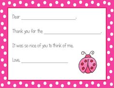 Pink Ladybug Fill In Thank You Notes