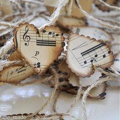 vintage paper music hearts, wedding decoration music notes, music note paper, wedding table centerpiece, handcolored vintage paper hearts by dorothyrovensky on Etsy