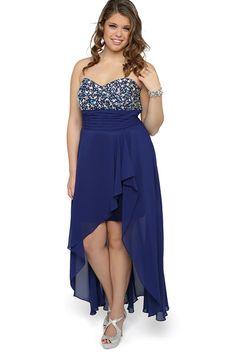 Royal Blue Asymmetrical Plus Size Sweetheart Chiffon Zipper Cocktail Dress