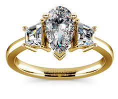 Pear Trapezoid Diamond Engagement Ring in Yellow Gold  http://www.brilliance.com/engagement-rings/trapezoid-diamond-ring-yellow-gold-1/2-ctw