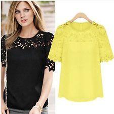 Hot!Fashion Women Sheer Sleeve Embroidery Top Blouse Lace Crochet Chiffon Shirt