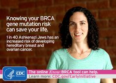 Ashkenazi Jewish Women – 1 in 40 Ashkenazi Jews has an increased risk of developing hereditary breast cancer and ovarian cancer.  CDC's Know:BRCA online tool can help you understand your risk.