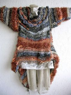 Items similar to giant extravagant wearable-art wrap with additional sleeves in glamorous silver graphite & rust tones on Etsy Knitwear Fashion, Knit Fashion, Freeform Crochet, Knit Crochet, Crochet Capas, Pulls, Knitting Projects, Wearable Art, Hand Knitting