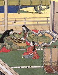 Tale of Genji detail. Women and a child dressed in heian robes. Heian Era, Heian Period, Inspirational Artwork, Geisha, Hina Matsuri, Japan Painting, Japanese Folklore, Asian History, Korean Art