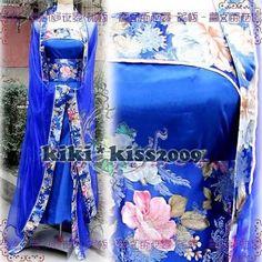 blue oriental dress kimono